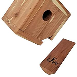 Wakefield Premium Handmade Birdhouses Hanging Cedar House with Easy Open Bottom with perch out