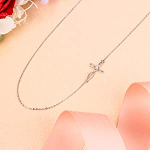 925 Sterling Silver CZ Jewelry Religious Church Sideways Celtic Knot Cross Choker Necklace