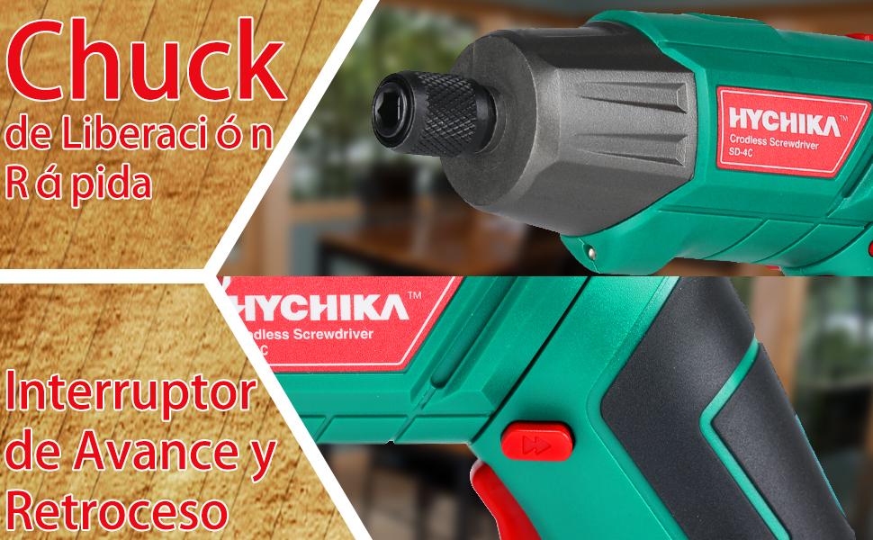 Atornillador Eléctrico 6N.m, HYCHIKA Destornillador Inalámbrico (Máximo Par 6 Nm, 3.6V, 2.0Ah) LED Luz como Linterna, Llave de Trinquete, Cargador con ...
