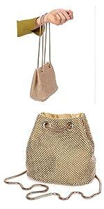 Damen Abendtasche Clutch Umhängetasche Kleine Pailletten Handtasche gold