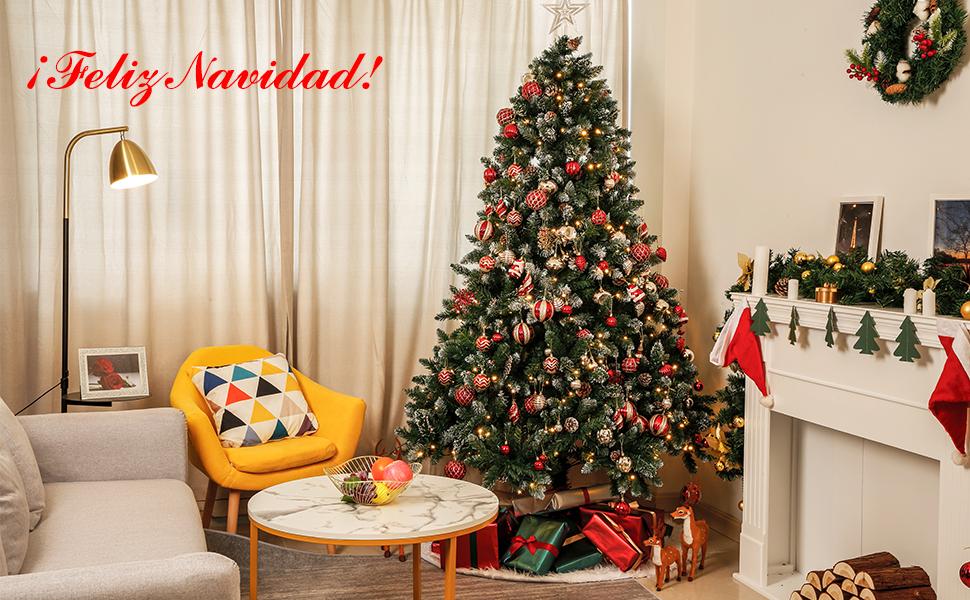 Yorbay - Árbol de Navidad Artificial Natural de Blanco Nevado, 180cm 930 Puntas Incluye Las Piñas y Soporte Metal, para Decoración Navideña Reutilizable: Amazon.es: Hogar