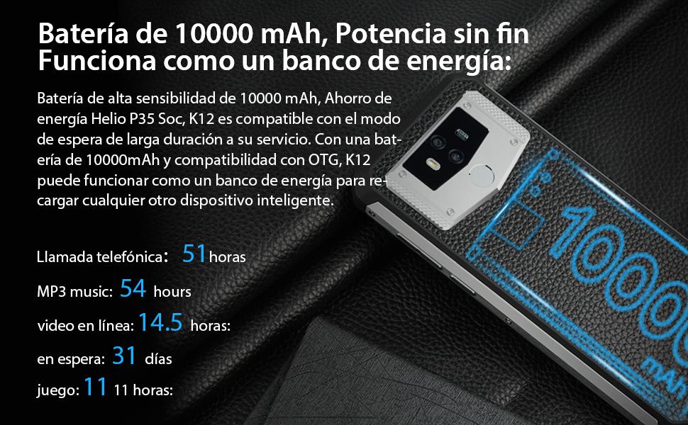 2019) OUKITEL K12 Android 9.0 Smartphone Libre con batería masiva ...