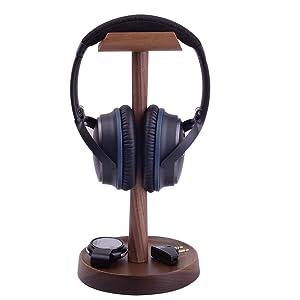 walnut wooden headphone stand