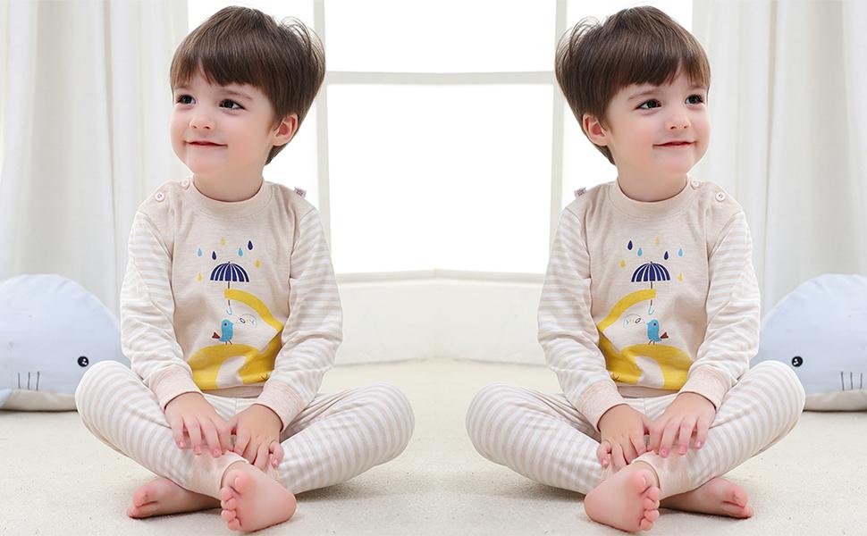 100% algodón Baby Boys Pijamas Set Ropa de Dormir de Manga Larga (6M-5 Años)