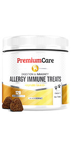 premium care dog allergy medicine chews relief supplement digestive treats seasonal allergy