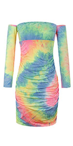 off shoulder tie dye dress ruched dress cold shoulder bodycon dress bandage mini dress