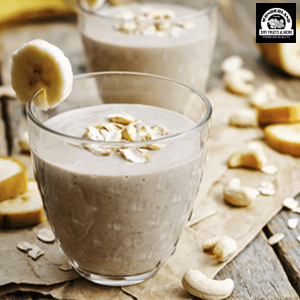 wholesome healthy breakfast shake smoothie banana cashew nuts kaju dry fruits delicious rich