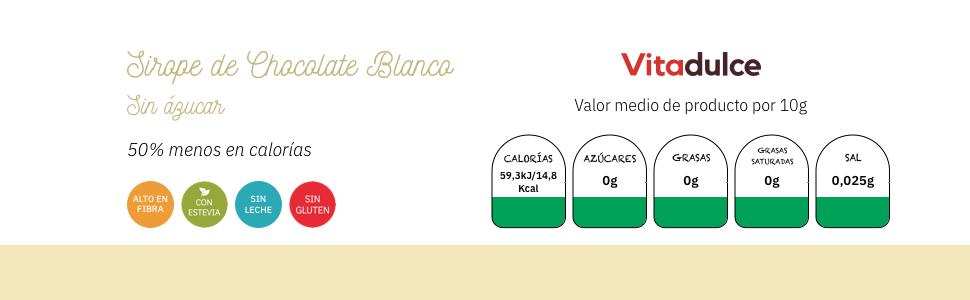 sirope, sirope sin azúcar, sirope sin calorías, sirope sugar free, sirope de chocolate blanco