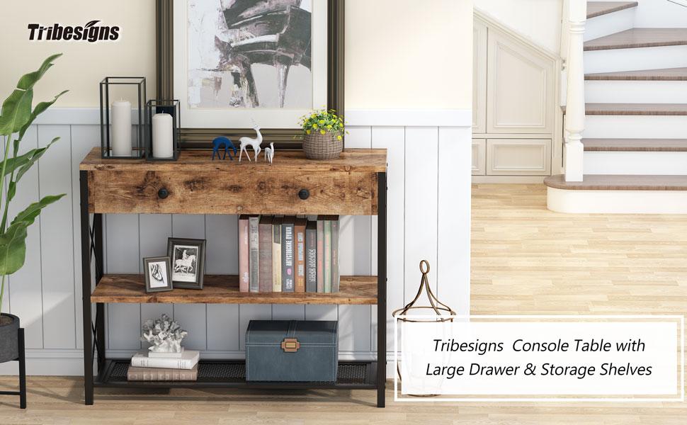 Table console industrielle 3 étages avec 2 étagères, table d'appoint et buffet, salon