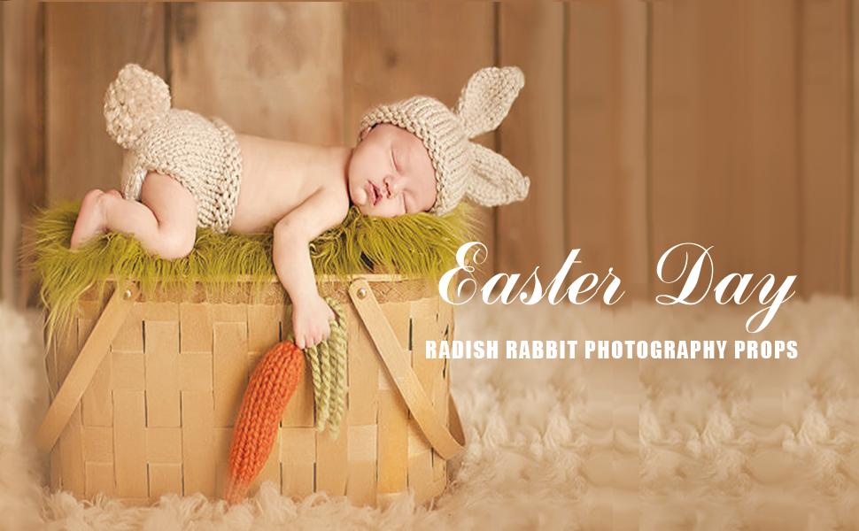 Newborn Baby Girls Boys Carrot Radish Crochet Knitted Photography Props Orange