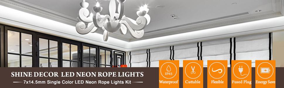 shine decor led neon rope light 5m cool white flexible tube 6500k 220v 240v led strip light