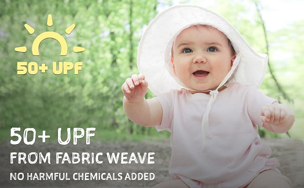 50+ UPF, no harmful chemical, 100% cotton
