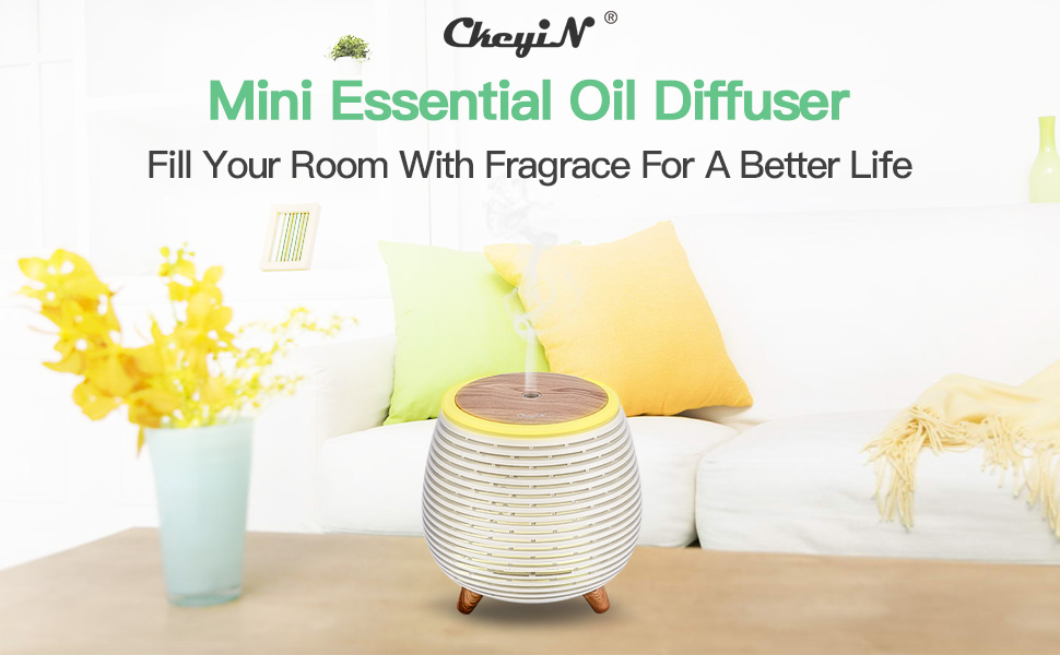 Mini Essential Oil Diffuser 90ml Portable Humidifier with 2 Mist Modes, Waterless Auto Shut-Off and