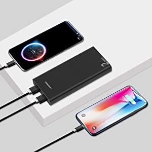 power bank  Alongza 20000mah Portable Charger, High Capacity Power Bank for Cell Phone 2 USB Ports External Battery Back Mobile Backup Charger Compatible with iPhone,Samsung, Android and More Smart Devices 0ecea8db 36ad 4a9d aeae b6f1f9150df6