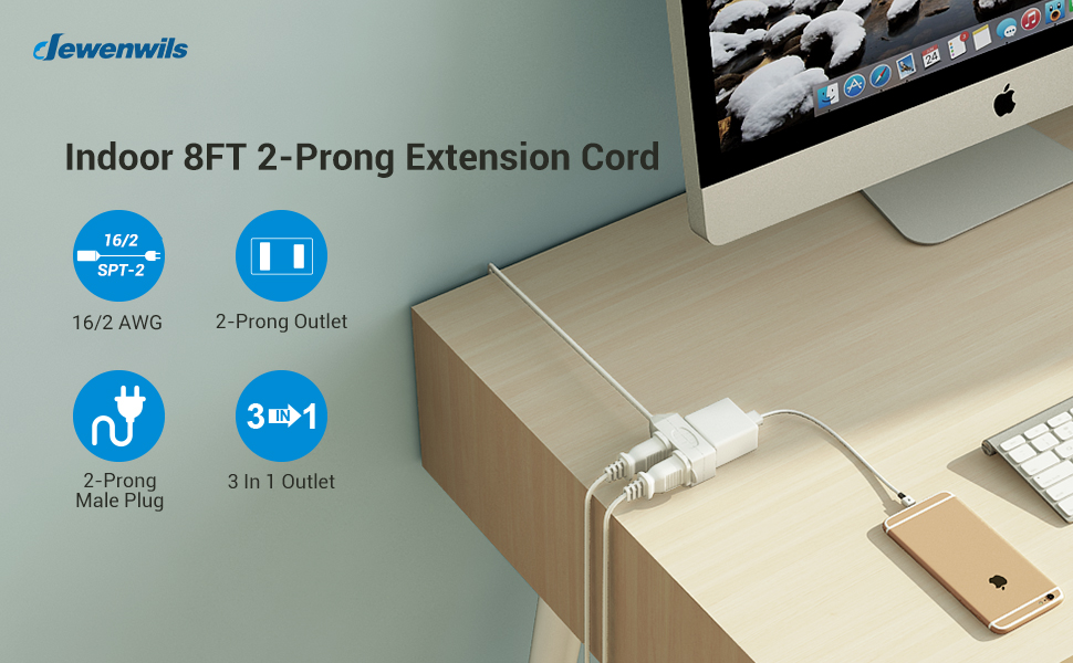 extension cord 8 ft indoor uses