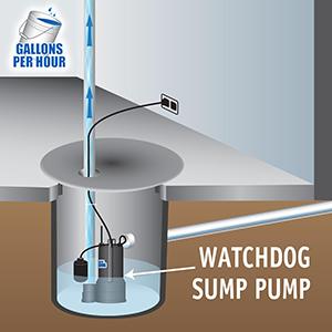 pumping power, 3700 GPH, 3900 GPH, stop flooding, dry basement, Basement Watchdog SP AC sump pump