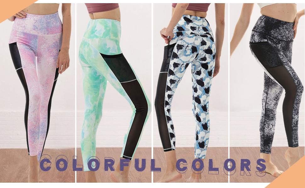 mesh yoga pants tie dye leggings high waist tummy control tights