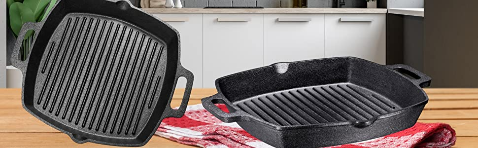 Pre-Seasoned Cast Iron Grill Pan With Assist Handle Pre-Seasoned Cast Iron Reversible Grill/Griddle