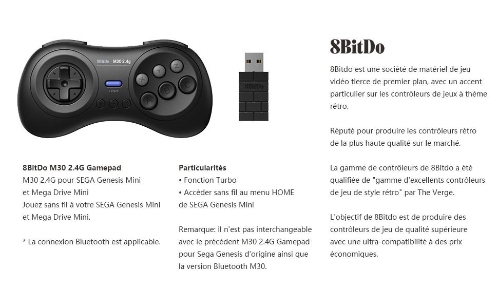 8Bitdo M30 Mini 2.4G Gamepad sans fil pour Sega Genesis Mini et Mega Drive Mini 1