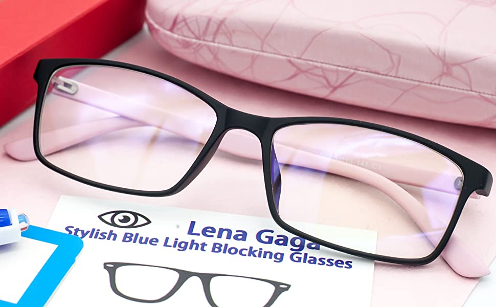 anti blue light blocking glasses computer women eye strain pink frame uv protection small face case