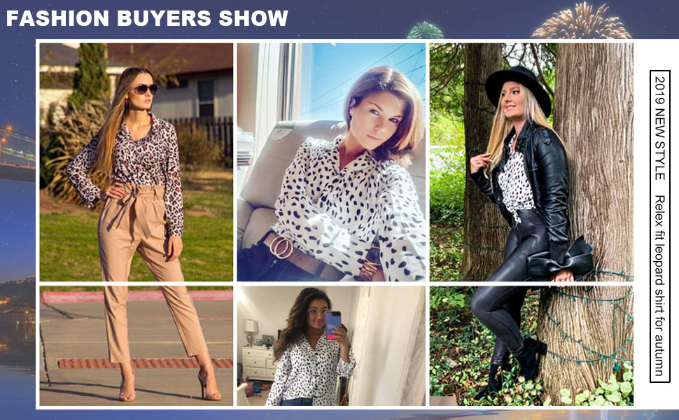 Womens Casual V Neck Leopard Button Down Long Sleeve Shirts Blouses Tops