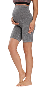 Women's Maternity Over The Belly Active Lounge Comfy Yoga Shorts