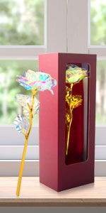 galaxy rainbow crystal infinity beauty and the beast colorful gold rose flower gift