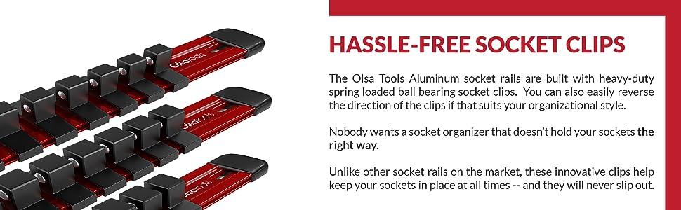 Olsa Tools 3 Pc Set Aluminum Socket Organizer1//4-Inch Drive x 20 clips,