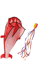 3D Kite Large Red Dolphin