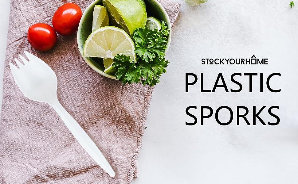 Stock Your Home 100 Disposable Sporks, White Plastic Sporks – Kid Safe 2 in 1 Utensils