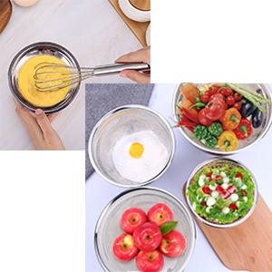 egg mixing,prep dinner, serving bowls