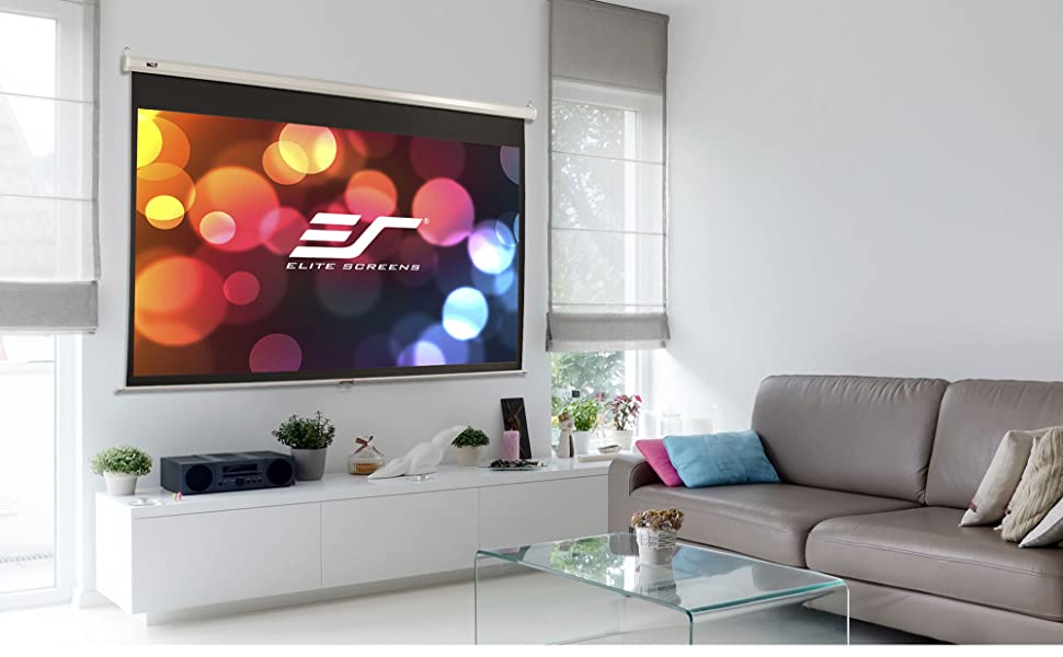 manual pull down projector projection screens elite amazonbasics cheap