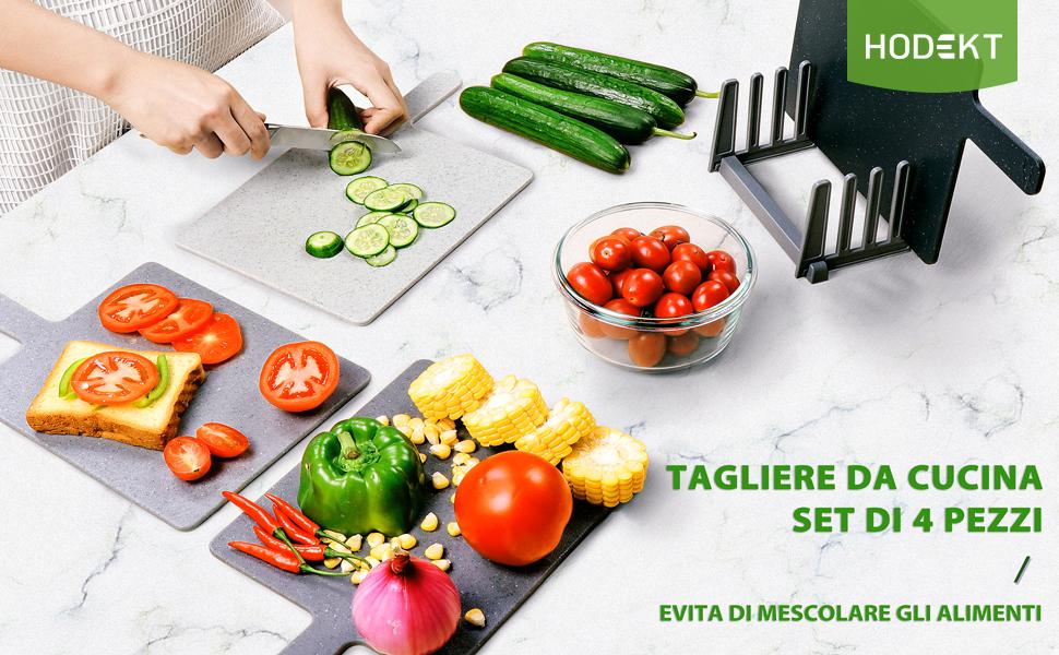 Tagliere da Cucina Set di 4 pezzi  Evita di mescolare gli alimenti