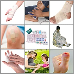 Plasters antiseptic wounds cuts burns bandages ice pack thermal blanket tape scissors