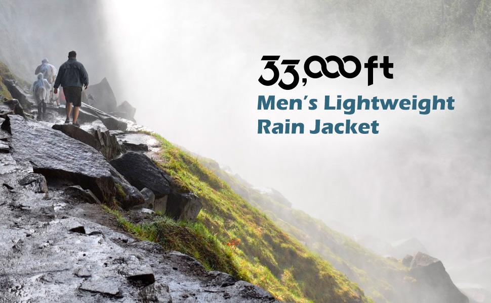 men packable rain jacket