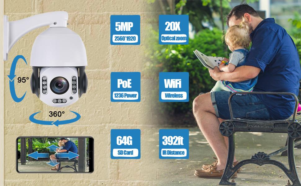 20X 5MP Starlight POE WiFI IP Camera