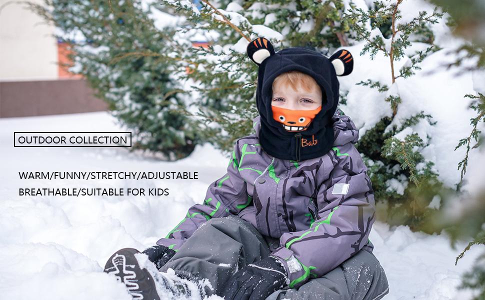 ChinFun Boys & Girl's Winter Warm Hat Scarf Kid Fleece Lined Earflap Caps Windproof Balacalva