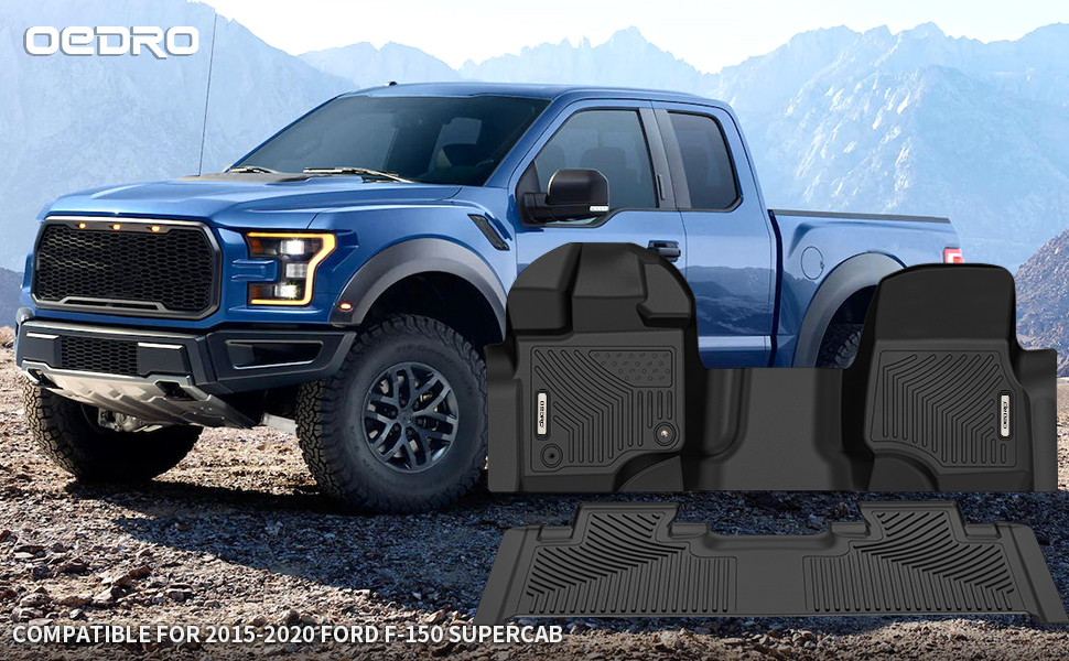 Floor Mats Liner Compatible with 2015-2020 Ford F-150 SuperCab/ Extended Cab