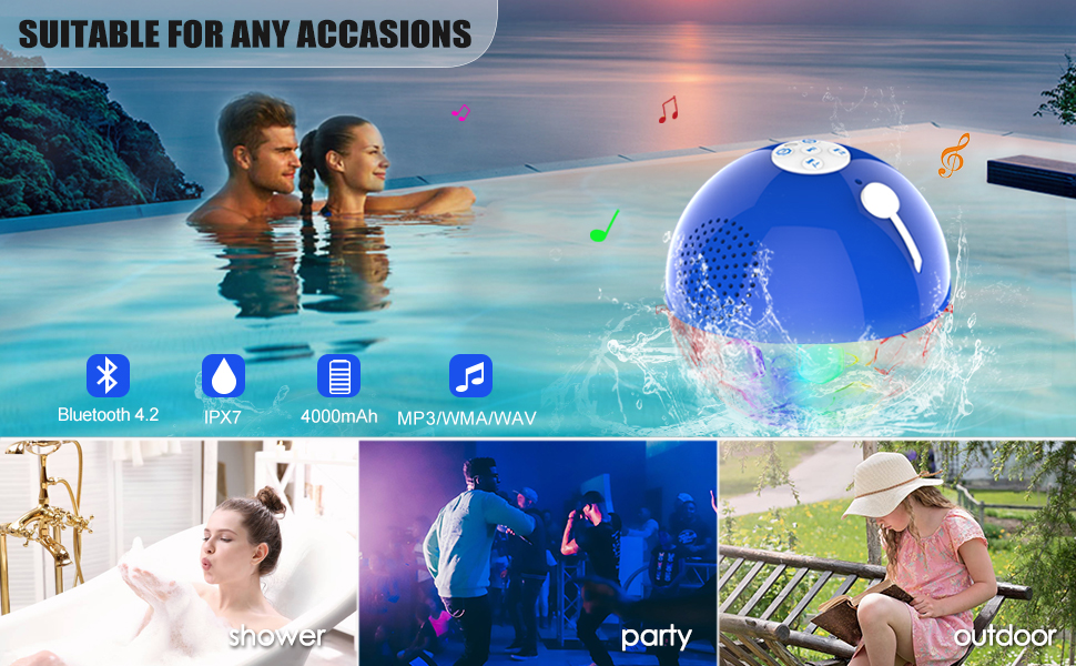 bluetooth speaker for swimming pool, shower, party, outdoor
