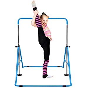 Kids Folding Horizontal Bars with Adjustable Height Junior Training Bars Children Kip Balance Bar for Home Vivitory Expandable Gymnastics Bars Training Monkey Bars Child Gym Climbing Tower