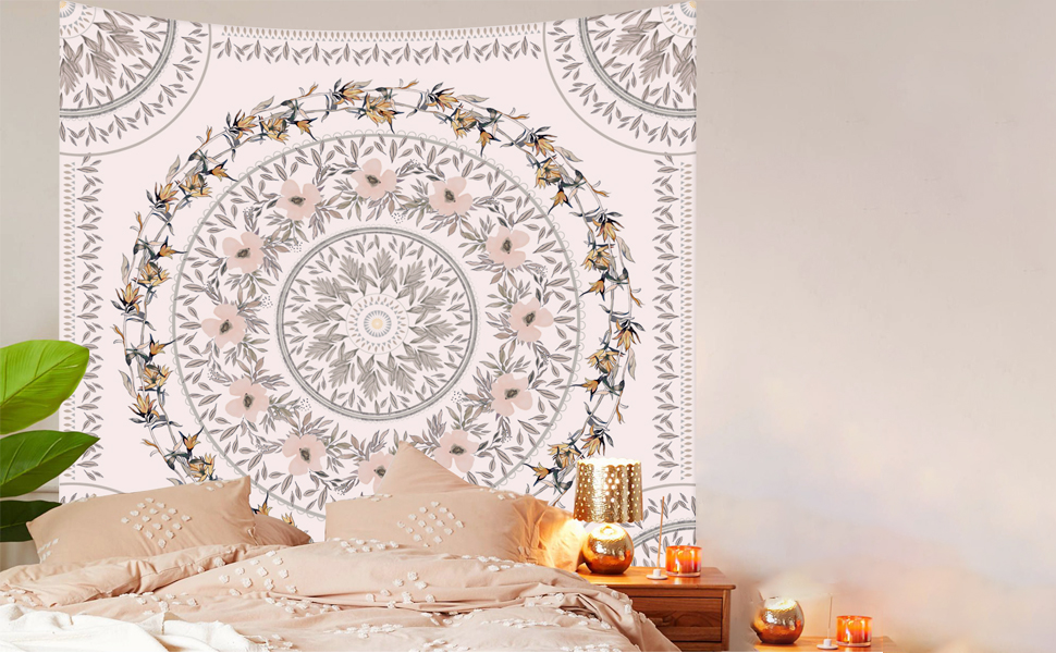 Simpkeely Sketched Floral Medallion Tapestry, Bohemian Mandala Wall Hanging Tapestries