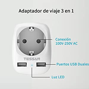 TESSAN Adaptador Enchufe Ingles UK Inglaterra Adaptador de Viaje ...