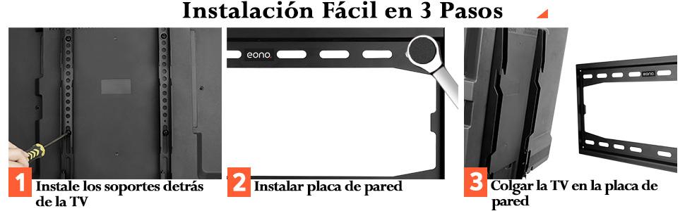 Eono by Amazon Soporte TV Pared Fijo Soporte de Televisión para 26 55 Pulgadas VESA 400x400 PL2361-K