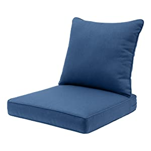 Qilloway Outdoor Indoor Deep Seat Chair Cushions Set All Weather Large Size Replacement Cushion For Patio Furniture Blue Indigo Garden Outdoor