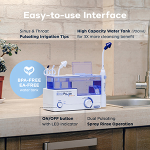 SinuPulse Elite Advanced Nasal Irrigation System on a white bathroom countertop ready to use