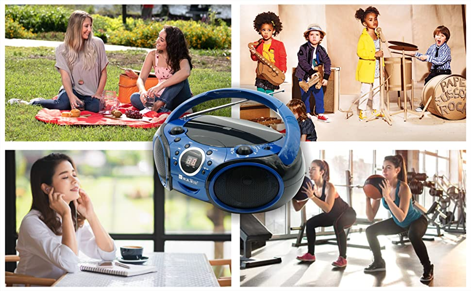Portable AM FM CD Bluetooth boombox