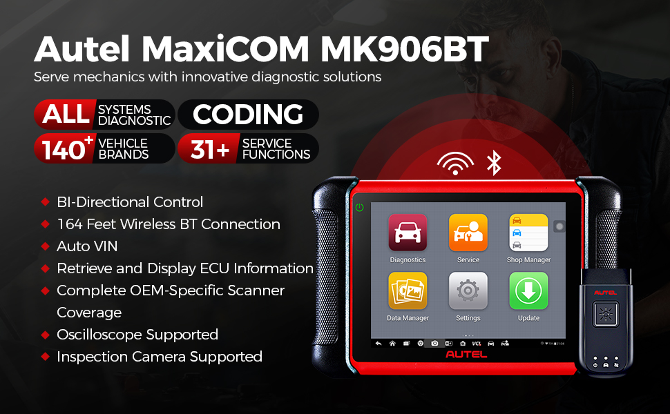 Amazon.com: Autel Scanner MaxiCOM MK906BT, 2021 New Version Automotive Scan  Tool Same as Maxisys MS906BT/MS908/MK908 with ECU Coding Full-System  Diagnostics Car Scanner 31+ Services 1 Year Update: Automotive