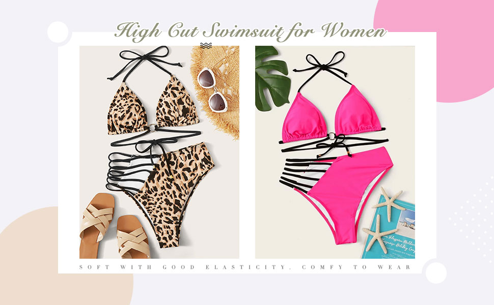 Adjustable straps High Waist Bottom Bikini Set