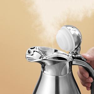 Edelstahl Kaffeekanne isolierte Kaffeekanne Teekanne Thermokanne Hei/ßwasser Kaffee Kaffee Aufbewahrungsflasche Vakuumisoliert 2L Blau
