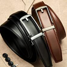 B08543WN1N - Contacts Men's Genuine Leather Auto lock Buckle Belt  SPN-FOR1